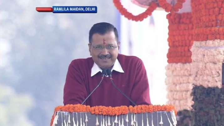 Arvind Kejriwal delivers a speech at Ramlila Maidan after