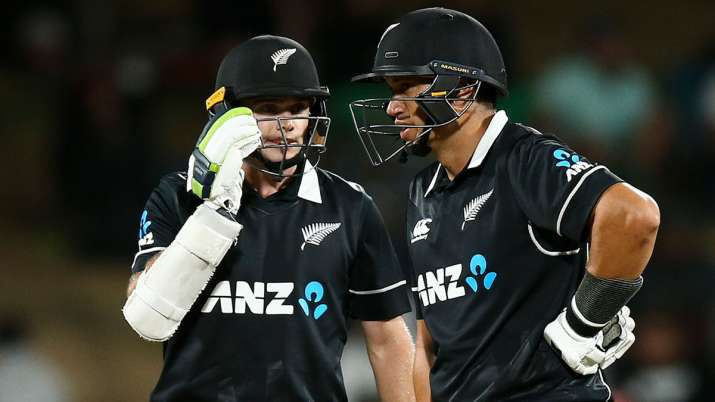 Tom Latham with Ross Taylor