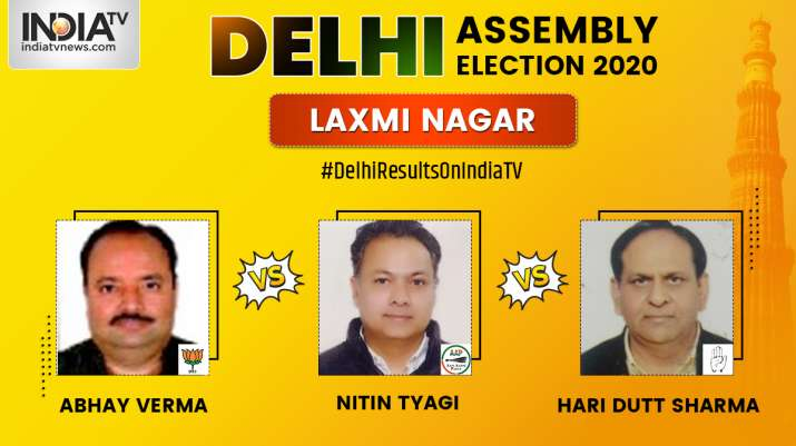 laxmi nagar constituency result live updates, laxmi nagar constituency delhi, Nitin Tyagi AAP, Abhay