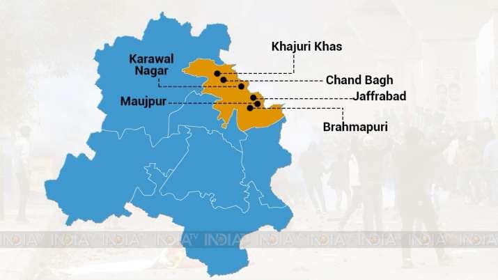 India Tv - violence affected areas delhi, delhi violence areas, map of delhi violence affected areas, violence