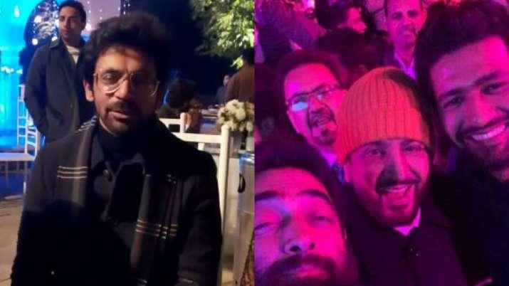 India Tv - Vicky Kaushal and Sunil Grover at Gurdas Mann's son wedding