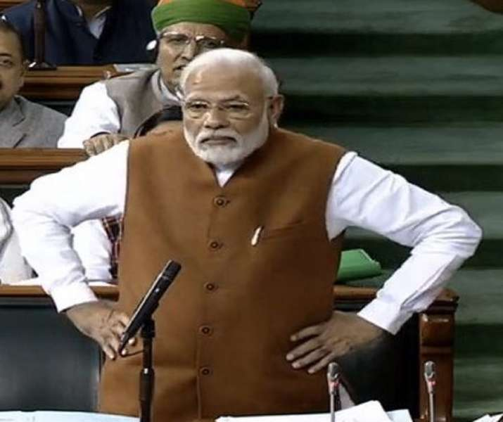 Prime Minister Modi during his speech in the Parliament on