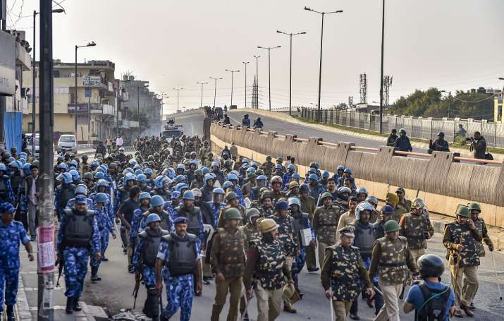 Paramilitary forces in northeast Delhi