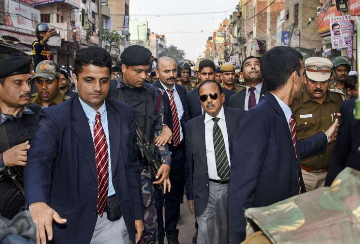 India Tv - National Security Advisor (NSA) Ajit Doval during his visit to the riot-affected areas to assess ground situation, in north east Delhi.