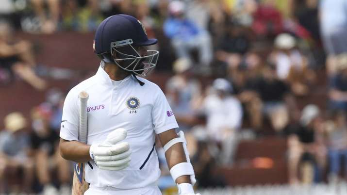 India's Ajinkya Rahane looks back after being dismissed for
