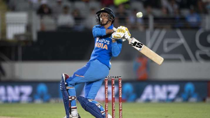 India's Navdeep Saini bats during a One Day International