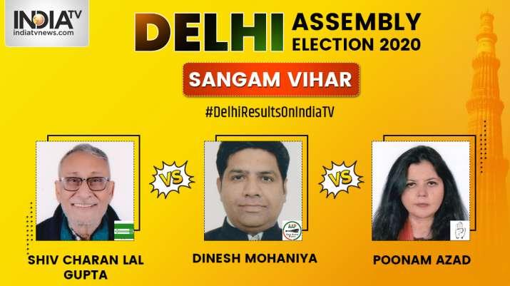 Sangam Vihar 2020 election result, Dinesh Mohaniya AAP, Shiv Charan Lal BJP, Poonam Azad Congress, e