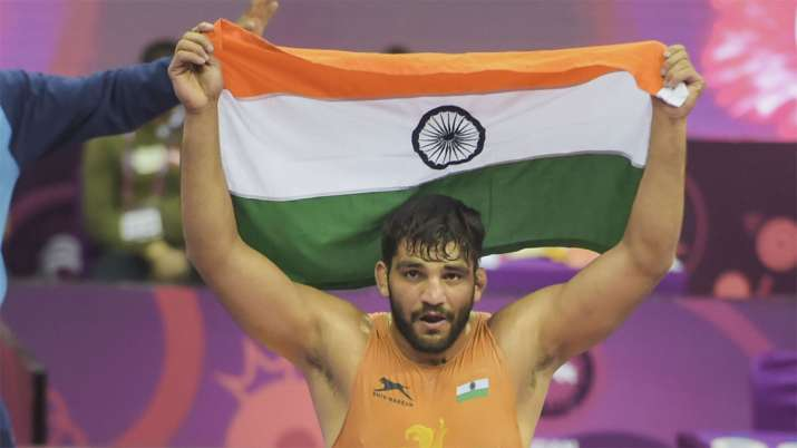 India Tv - Sunil Kumar wins gold in Asian Wrestling C'ships, breaks 27-year wait for India in Greco-Roman