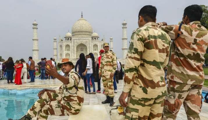India Tv - Security Forces patrol the premises of Taj Mahal ahead of US President Donald Trump's maiden visit t