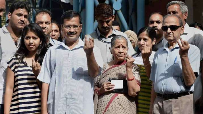 Delhi Chief Minister Arvind Kejriwal on Saturday cast his vote at a polling booth in Civil Lines al