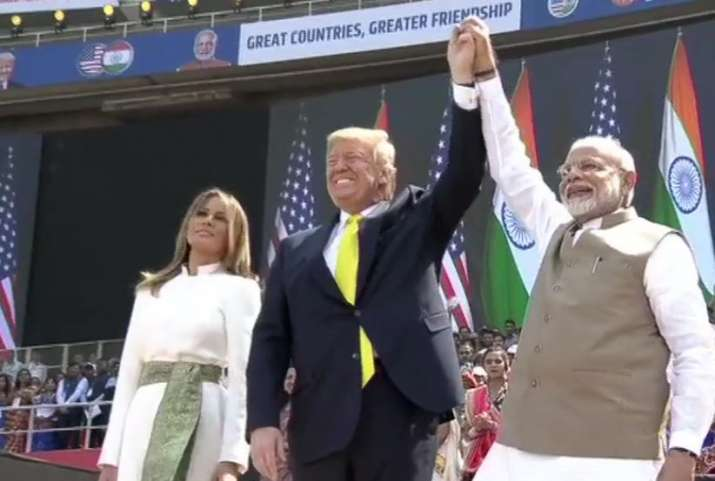 India Tv - PM Narendra Modi and US President Donald Trump speak at Namaste Trump event at Motera Stadium, Ahmed
