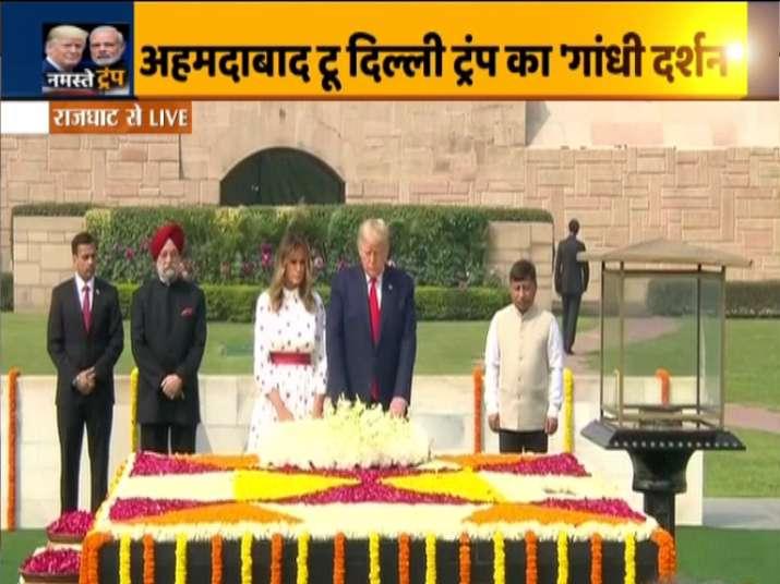 US President Donald Trump, wife Melania pay homage to Mahatma Gandhi at Raj Ghat