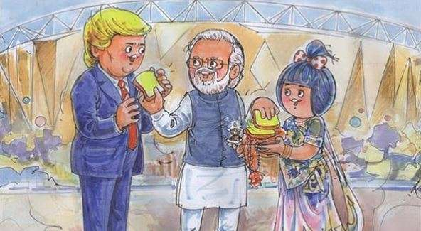 The doodle shows an animated Trump being welcomed by PM