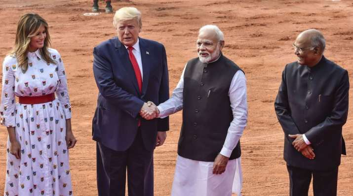 US President Donald Trump and US First Lady Melania Trump being welcomed by President Ram Nath Kovin