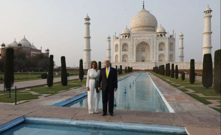 President Trump and the First Lady held hands as they strolled at the Taj complex and later wrote in