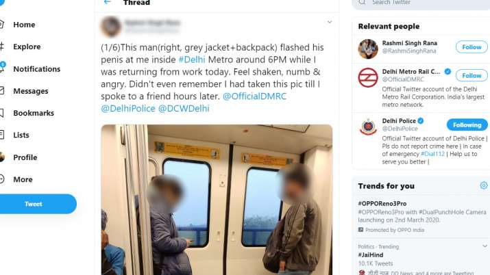 India Tv - Man flashes at woman passenger in Delhi metro, police file FIR