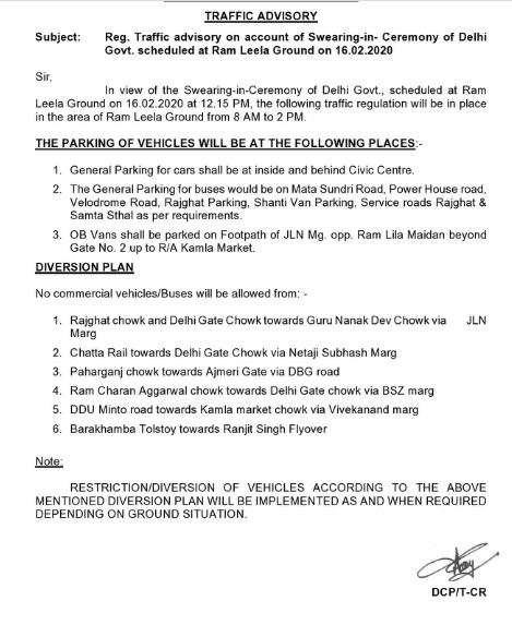 India Tv - Delhi Traffic Police issues advisory ahead of Kejriwal's swearing-in ceremony