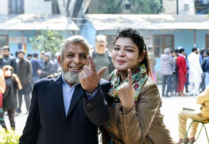 India Tv - Voters show their finger marked with indelible ink after casting vote during the Delhi Assembly elections at a polling station, in Jamia Nagar