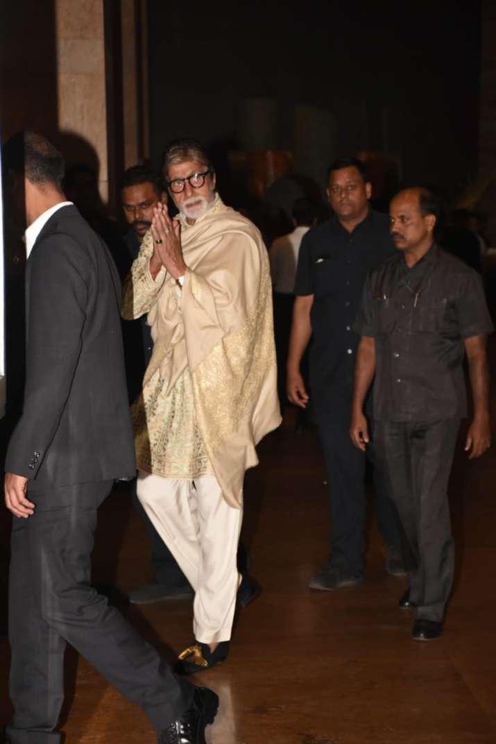 India Tv - Amitabh Bachchan at Armaan Jain's wedding