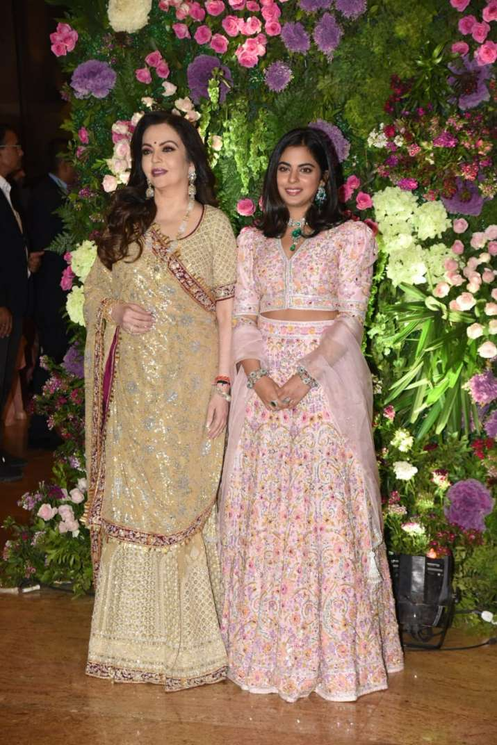 India Tv - Nita Ambani arrives with daughter Isha Ambani.