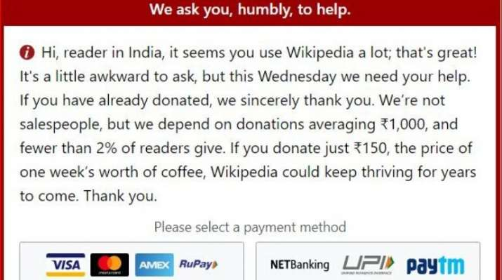India Tv - Wikipedia asks Indian users to pay to 'defend independence'