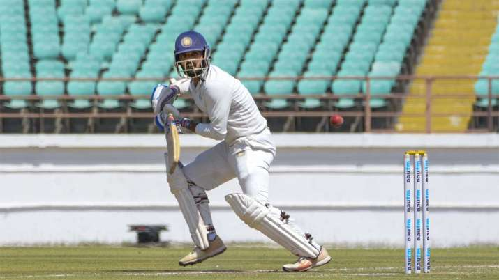 Saurashtra batsman Arpit Vasavada plays a shot during Ranji