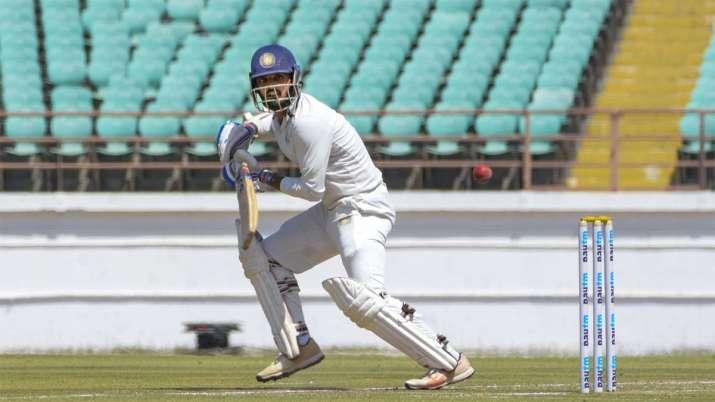 Saurashtra batsman Arpit Vasavada plays a shot during Ranji