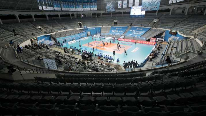 India Tv - Stadium seats are empty during a pro volleyball V-league game in Seoul, South Korea on February 27,