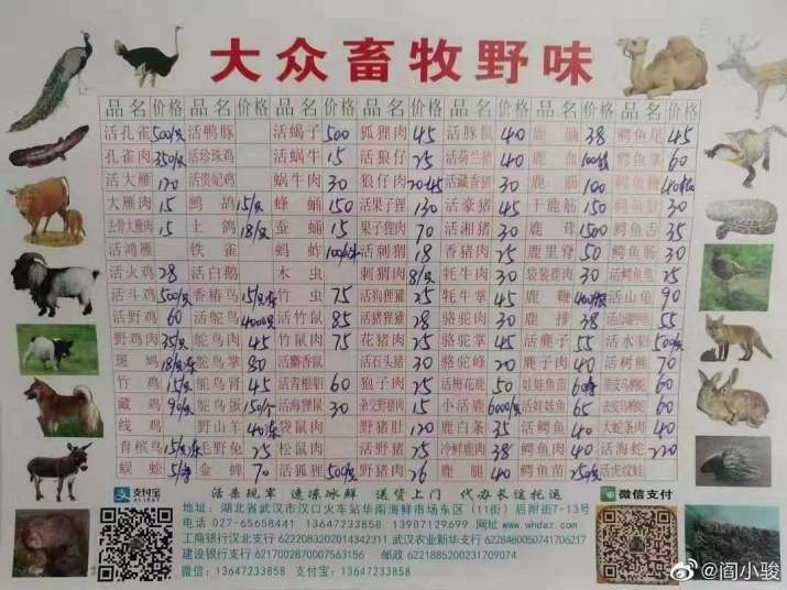 India Tv - Pricelist at Huanan wet market in China