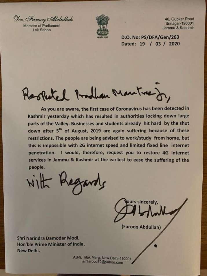 'Restore 4G internet in Kashmir': Farooq Abdullah writes ...