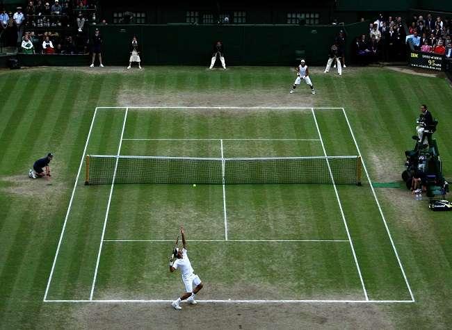 Roger Federer of Switzerland serves during the Men's