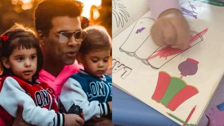 Karan Johar's kids Yash and Roohi add colour to the quarantine with their art work. See video