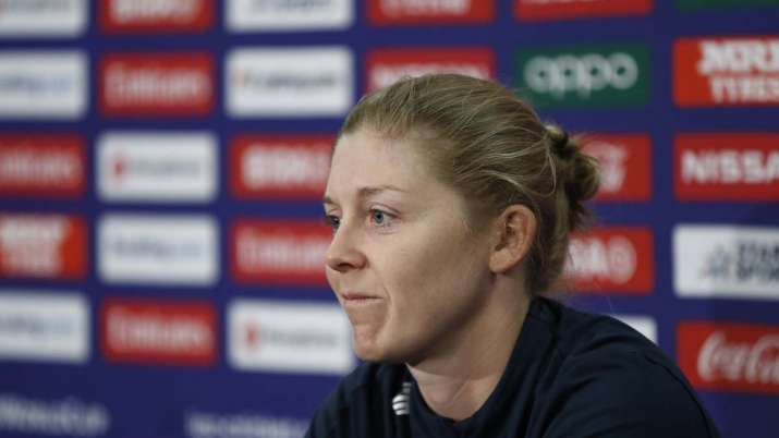 Heather Knight of England speaks during an England Press