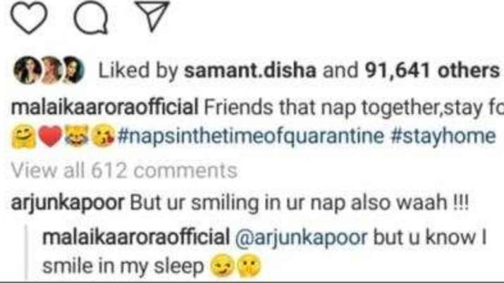 India Tv - Arjun Kapoor trolls girlfriend Malaika Arora for posing while sleeping, she gives apt reply