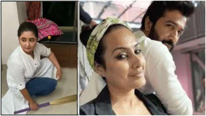 Coronavirus lockdown: Rashami Desai sweeps floor, Kamya Punjabi cleans home with husband Shalabh Dan