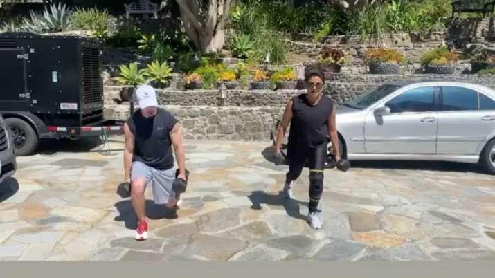 Priyanka Chopra, Nick Jonas turn home workout buddies amid coronavirus lockdown. Watch video
