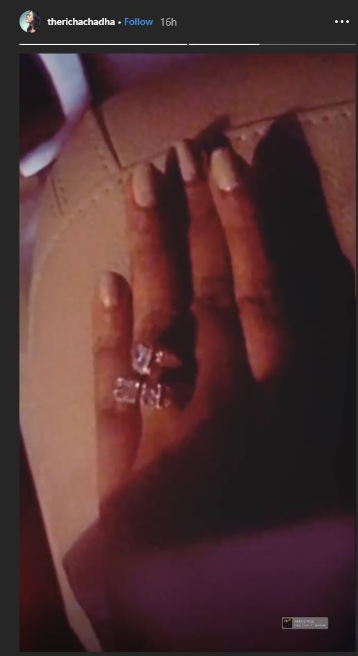 India Tv - Richa Chadha flaunts her diamond studded engagement ring