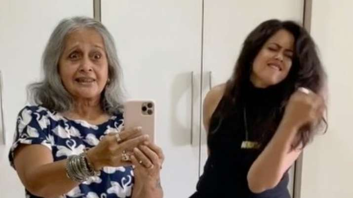 Sameera Reddy's mother-in-law joins her as she takes flip the switch challenge