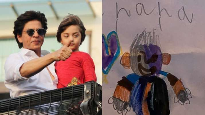 Shah Rukh Khan beams with joy as little munchkin AbRam draws a picture of him