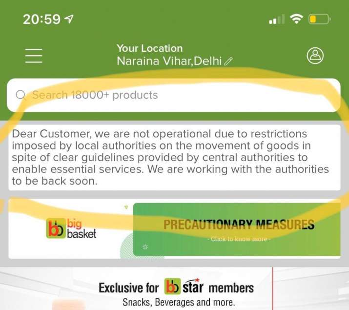 India Tv - Bigbasket application screenshot.