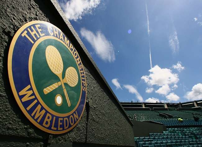 'The Championships' logo is seen at Centre Court during