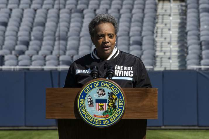 """Mayor Lori Lightfoot announces the """"We Are Not Playing"""" campaign during a press conference at Soldie"""