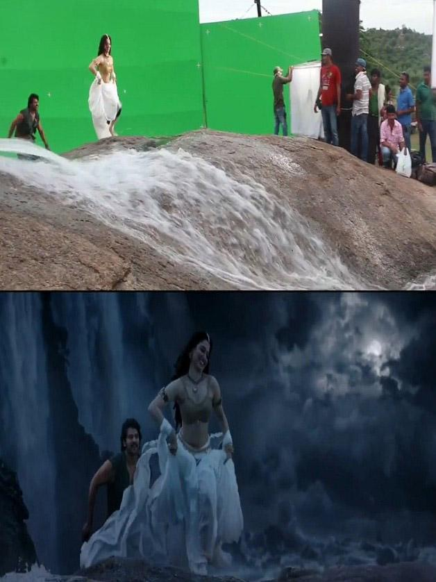 India Tv - Before and after VFX scene from SS Rajamouli's magnum opus