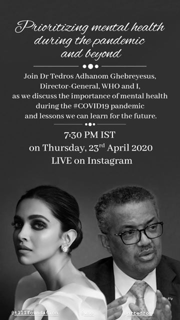 India Tv - Deepika Padukone to talk about mental health amid COVID19 crisis with WHO Director-General Dr. Tedro