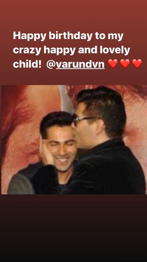 India Tv - Karan Johar's birthday wish for Varun Dhawan