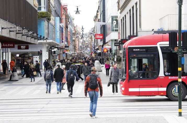 A view of Drottninggatan- Queens Street in Stockholm, Sweden, Wednesday April 1, 2020. The coronavir