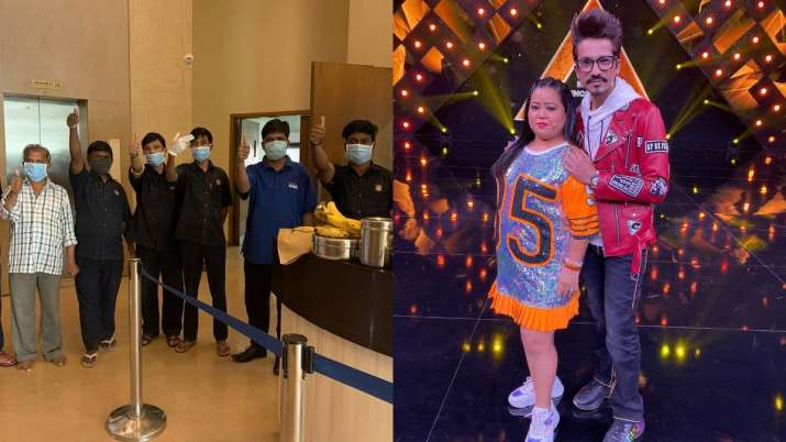 Comedian Bharti Singh, husband Haarsh celebrate Ashtami pooja by distributing food to security guard