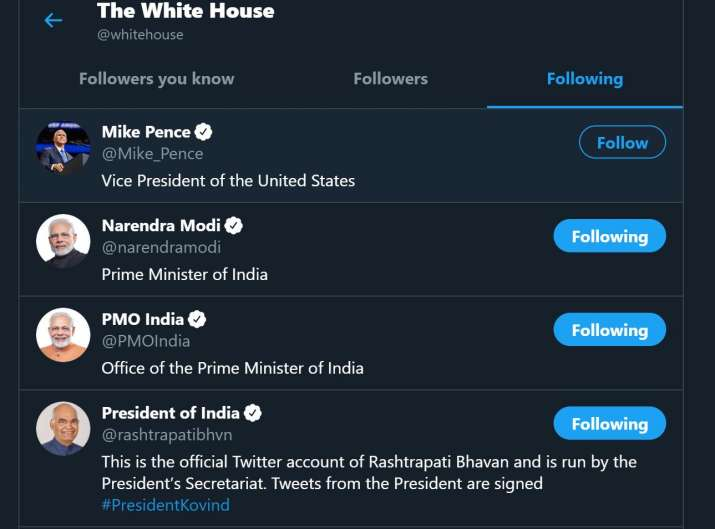 White House official twitter handle follows Prime Minister Narendra Modi