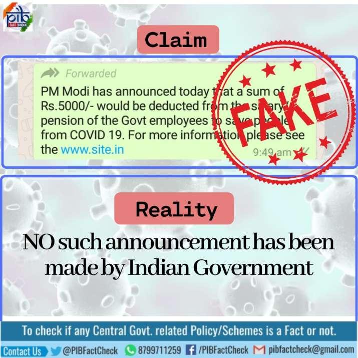India Tv - coronavirus fake story, false narrative, covid-19 outbreak, government to deduct money from salaries