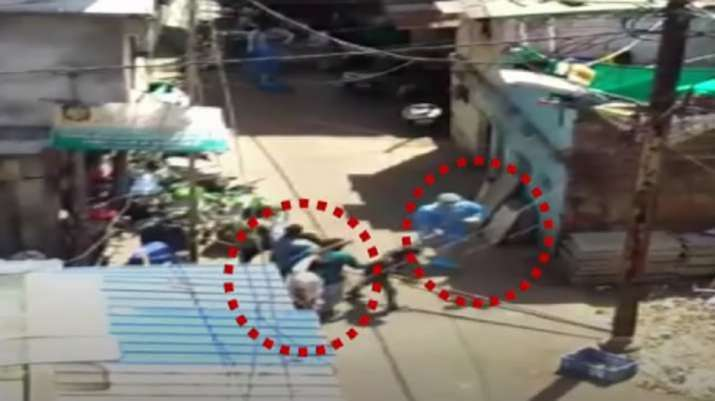A screenshot from the video footage showing doctors being